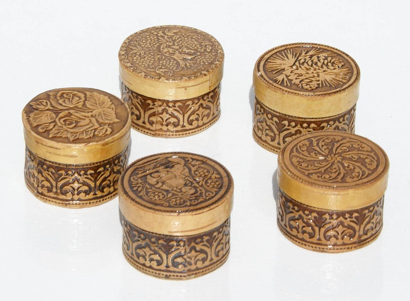 Selma Russo Artesanato ~ Lote 3 casca de bétula pequenas caixas de madeira