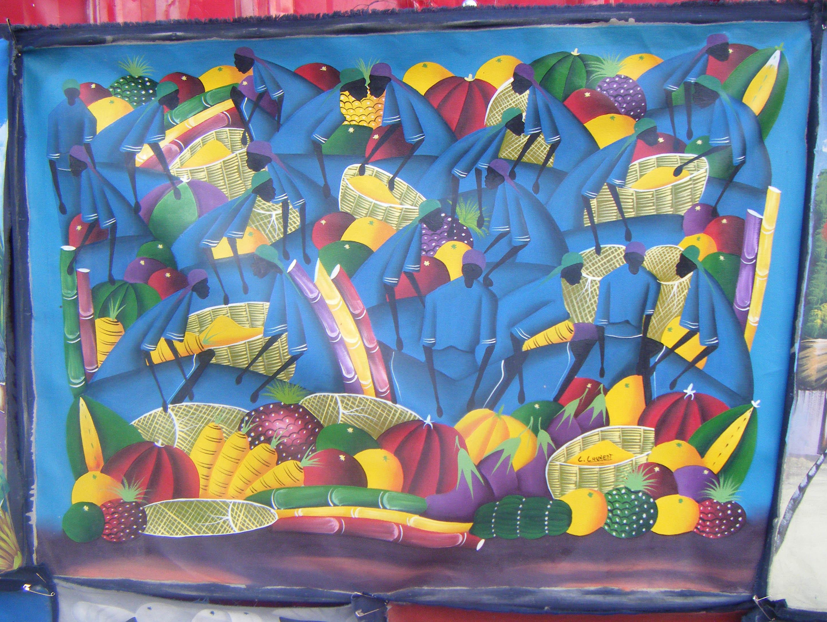 Aparador Suspenso Mercado Livre ~ Haitiano mercado original pintura handmade na lona arte
